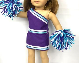 """Doll cheerleading outfit, 18"""" doll clothes, purple blue turquoise white, doll costume, doll pom poms, doll"""