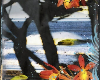 28 WEEKS, 3 Sizes, 8x10, 11x14, 16x20 Hand Signed Matted Print, Orchids, Ocean, Surf, Travel, Wall Art, Art, Surf Art