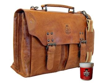 Briefcase WASHINGTON made of brown leather – BARON of MALTZAHN