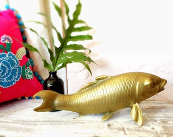 Brass Koi Fish Vintage Brass Mid Century Hollywood Regency Bohemian Jingalow Style Decor