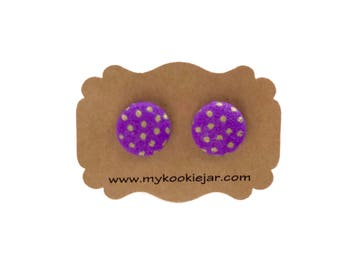 Violet with Gold Spots Button Earrings, Purple Studs, Violet Earrings, Violet Gold Studs, Girl's Earrings, Handmade Gift Idea, Lightweight