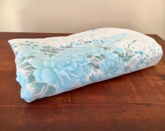 Vintage single bed flat sheet floral blue retro shabby chic