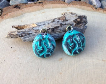 Rustic clay charms - textured - set of 2