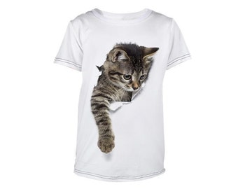Clothes Tops T-Shirt Boys and Girls, Kids Baby Children Animal cat