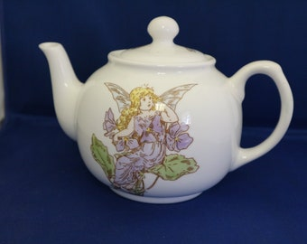 Hand painted bone china teapot with fairy design