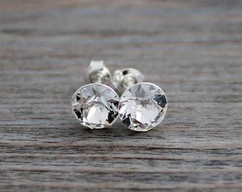 Clear Swarovski Crystal Studs on Sterling Silver Posts; Lightweight; Hypoallergenic; Diamond; 8mm Round; Minimalist Crystal Stud