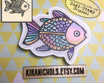 Fish Digital Stamp - Digistamp - Cute Sealife Digital Stamp - Coloring Pages - Stamp - Printable Sticker - Clip Art - Printables