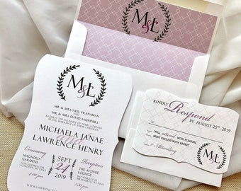 Wedding Monogram, Cut Wedding Invitation, Purple Wedding Invitation, Envelope Liner Wedding, Modern Wedding Invitation Set