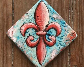 Fleur de lis Stone tile coaster mini artwork