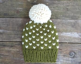 Slouchy Beanie, Knit Hat, Knit Toque, Pom Pom Hat, Fair Isle Hat, Fairbanks Beanie - in Pine