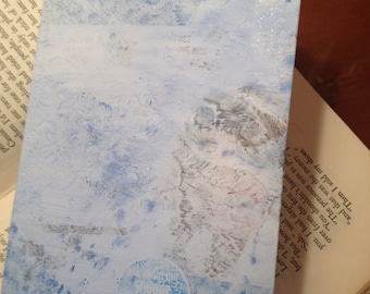 Junkmail notebook recycled paper hand painted cover