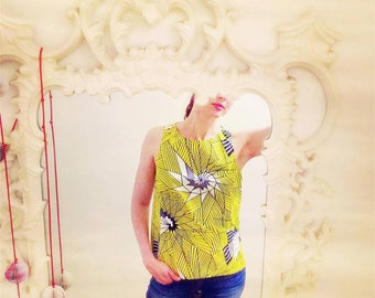 CUSTOM Yellow Cotton Print Top, African Pagne Print Top, Sleeveless Boxy Top