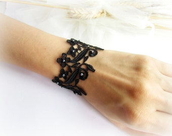 Black lace bracelet bridesmaid bracelet lace flowers bracelet black lace cuff bracelet embroidered lace bracelet floral lace bracelet