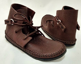 Chukka Boot Moccasin Chocolate Brown Hand Stitched Thick Bullhide Leather Upper With A Vibram / Rubber Sole / Minimalist