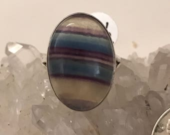 Abstract Fluorite Ring Size 9 1/2