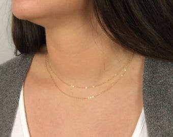 Delicate necklace, Dainty chain necklace, Layering necklace, 14kgold fill, Rose gold fill, Sterling silver, Simple necklace, Minimal jewelry