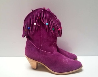 Purple Suede Leather Fringe Vintage Cowgirl Boots size 7 or 8