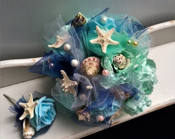 Seashell and starfish bouquet,Wedding bouquet sea themed,Destination wedding bouquet,Aqua blue beach wedding bouquet,Turquoise sea bouquet