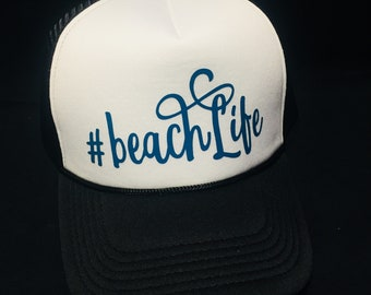 Beach Life Black & White Trucker Hat