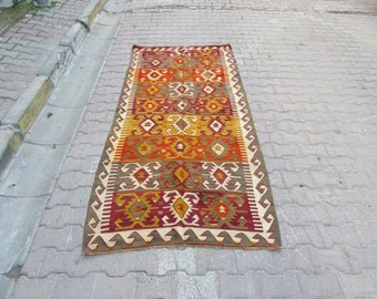 3.1x8.5 Ft Vintage handwoven colorful decorative Turkish kilim rug