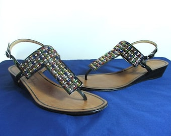 Mario Prolofria Black Patent Sandals with Beading...........size 7 1/2