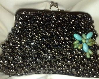 Hand beaded 'Red Carpet' clutch by Victoria Hackett