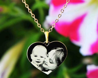 Heart necklace - photo engraving