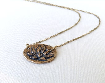 Lotus Flower Necklace with (Enlightenment Inscription) in Bronze