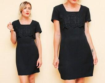 Formal Black Dress // Short Sleeve Mini Dress // 80s 90s Embroidered Square Neckline Cocktail Dress Size 13 14