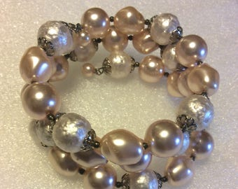 Pinks and Off White Faux Pearl Bracelet