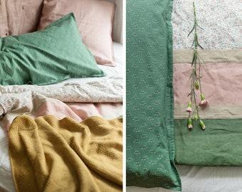 Grüner und gelber Leinenbettbezug / Kinderzimmer Bettwäsche / Heller Bettbezug / Kinderzimmer Bettwäsche / Kinder Bettbezug
