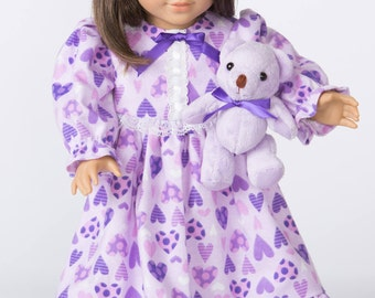 Sweet Hearts Purple Print Nightgown for 18 Inch Doll