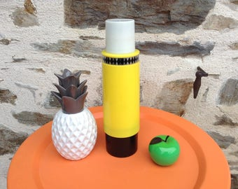 Vintage black and yellow vintage 70s Thermos bottle