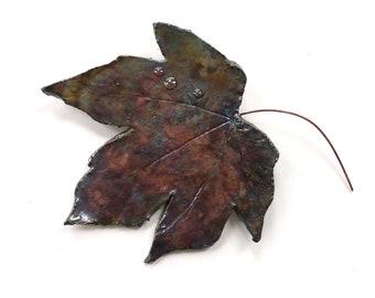 Ceramic leaf wall art ~ ceramic leaf, raku leaves hanging wall decoration, leaf art sculpture, woodland gift, gift for Mum, tree hugger gift