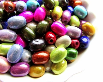 10pcs Assorted Miracle Beads 11 x 8 mm Miracle Beads Oval Glow Beads Barrel Shape Beads Shiny Beads Center Drilled Craft Supplies