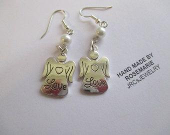 Sale Silver Love Angel Earrings