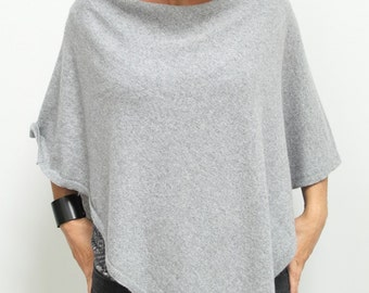 GRAY PONCHO wrap, poncho cape, autumn fashion cape, gift ideas, fashion accessories, Light grey poncho, gift ideas, wool poncho WRAP