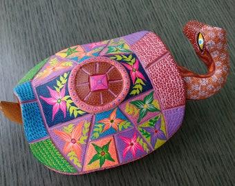 Mexican turtle folk art- Oaxacan alebrije- Oaxaca Mexico wood carving