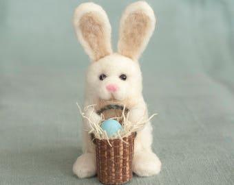 Needle Felted Easter Bunny - Holding Egg in Basket