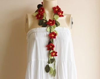 Red Lariat Scarf-Crochet scarf-Flower Scarf with Leaves