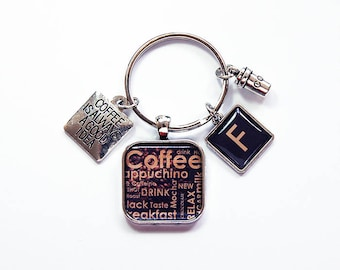 Coffee Keyring, Coffee Keychain, Latte, gift for Coworker, Coffee, Stocking stuffer, gift under 20, coffee lover, loves coffee (7941)