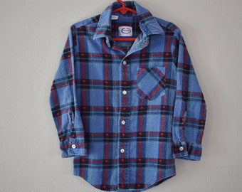 Vintage 80s Boys Plaid Flannel Shirt Size 5-6 / 80s Clothing / Vintage Kids Clothes / 80s Kids Clothes