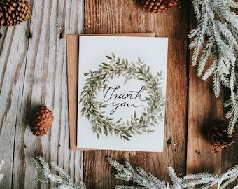 Thank you Card, Christmas Thank you, Christmas Card, Holiday Card, Holiday Thank you Card, Christmas Gift, Wreath Card, Christmas Wreath
