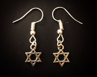 Silver Star of David Dangle Hook Earrings
