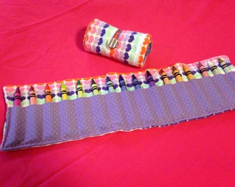 Crayon Roll Up Holder Case Hearts Handmade Holds 16 Crayons