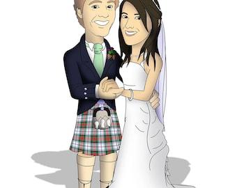 Personalised Couple Cartoon, Valentines Gift, Wedding, Anniversary, Custom Cartoon Portrait