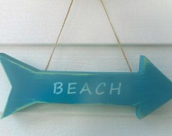 Wooden beach arrow sign / beach decor / nautical decor