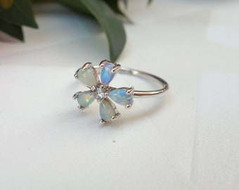 Opal Engagement ring Wedding ring CZ ring Unique engagement ring Jewelry Bridal opal Sterling silver Flower ring Leaves ring gioielli