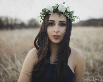 Flower crown wedding, white flower crown, ivory bridal flower crown adult, flower girl crown, flower headpiece