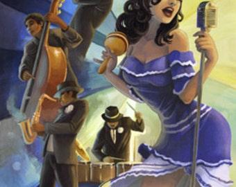Jazz Scene - New Orleans, Louisiana (Art Prints available in multiple sizes)